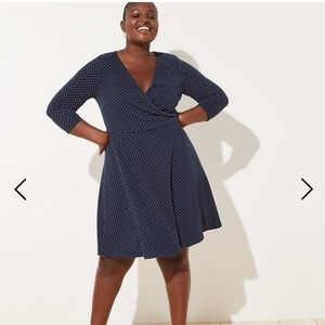 Loft navy polka dotted dress
